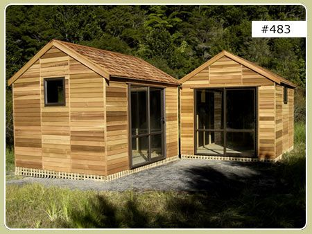 Each shed is 2.7m x 3.6m. Made in cedar with sliding doors and 600x600 windows. Used as sleep-outs!