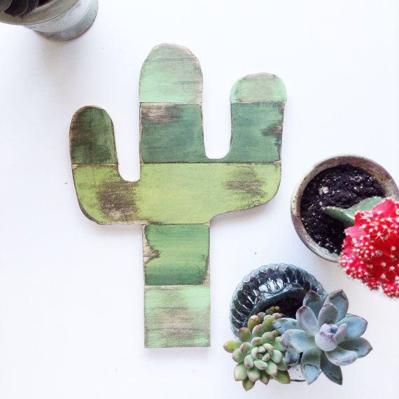 This is a hand cut, painted and distressed saguaro cactus.  Width: 9 inches Height: 13 inches  >>This one is made to order. Please allow up to