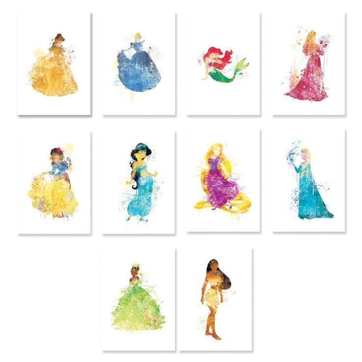 SALE! Disney princess watercolor Set of 10 Nursery Art Print,Disney princess nursery art,elsa,cinderella,snow white,ariel,aurora,belle,ET205 by artRuss on Etsy