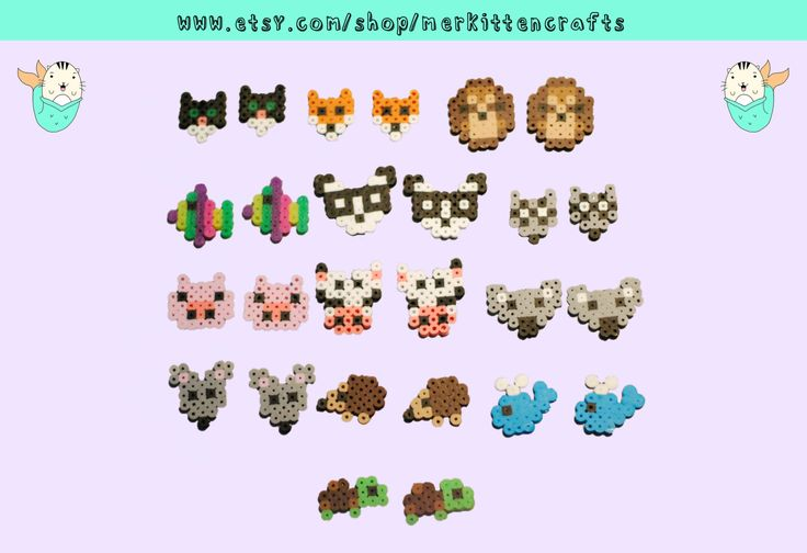 Adorable Perler Earrings with your favorite Animals! This listing is for 1 PAIR of the earrings shown or 1 keychain of the designs shown! Just select which one you would like. *Keep away from extreme heat - these are ironed together and will melt if exposed to extreme heat.  *Colors may be slightly different due to monitor settings  *Small parts! Keep away from children. *Willing to ship Internationally and will charge exact shipping.   These are made by hand and made to order. Please allow…