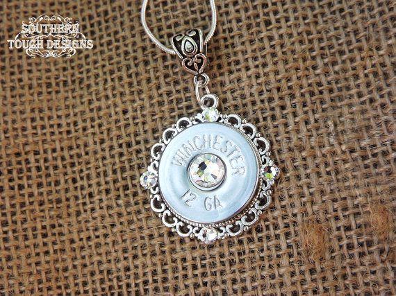 Bullet Jewelry - Shotgun Jewelry - Silver Shotgun Necklace - Brass Bullet Filigree - Country Jewelry - Wedding Gun Jewelry - Pistol Ammo
