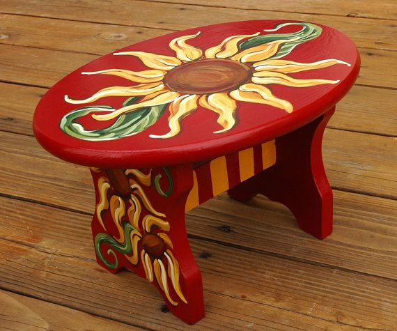 Tuscan Decor | Tuscan Sunflower Hand Painted Stool - 12 x 8 inch - Deep Red and Warm ...