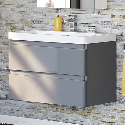 800mm Gloss Grey Basin Vanity Unit Wall Hung Bathroom Drawer Cabinet