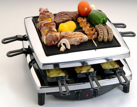 Steba RC 3 Plus Chrome Raclette Grill The natural stone plate becomes hot in an instant, & the cheese pans are enameled. Has temperature selector and on off switch.