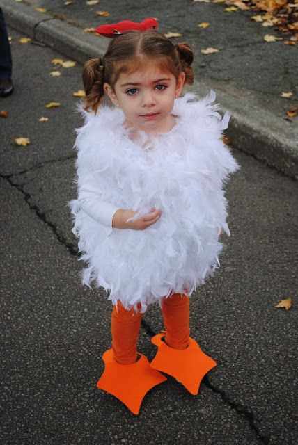 Two Sasters:  Child's Chicken Halloween Costume DIY