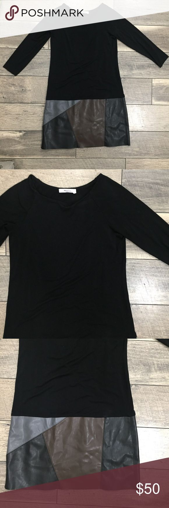 Bailey 44 Black Dress - Small Get this high end designer dress for a fraction of the retail price! Amazing piece for the office or a night out with friends! Comfortable jersey bodice with unique faux leather accents on bottom.  Size small. Excellent used condition. Bailey 44 Dresses Midi