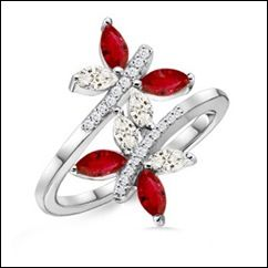 Ruby and Diamond Twin Butterfly Ring.