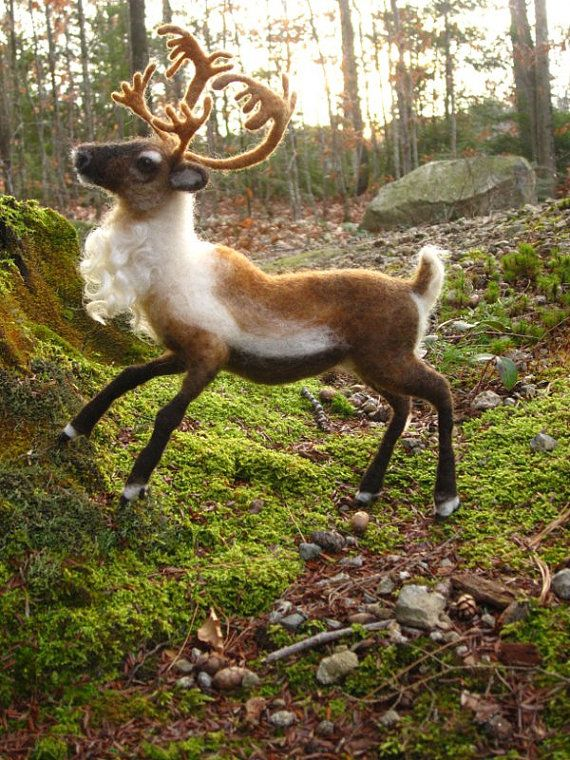 Needle felted reindeer  Christmas decoration mantel  by Ainigmati