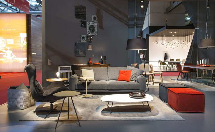 VEGAS Sofa /  LAZY rocking and swiveling armchair  / SOAP pouf / TWEET side and coffee table / SEXTANS floor lamp / MEDLEY rug