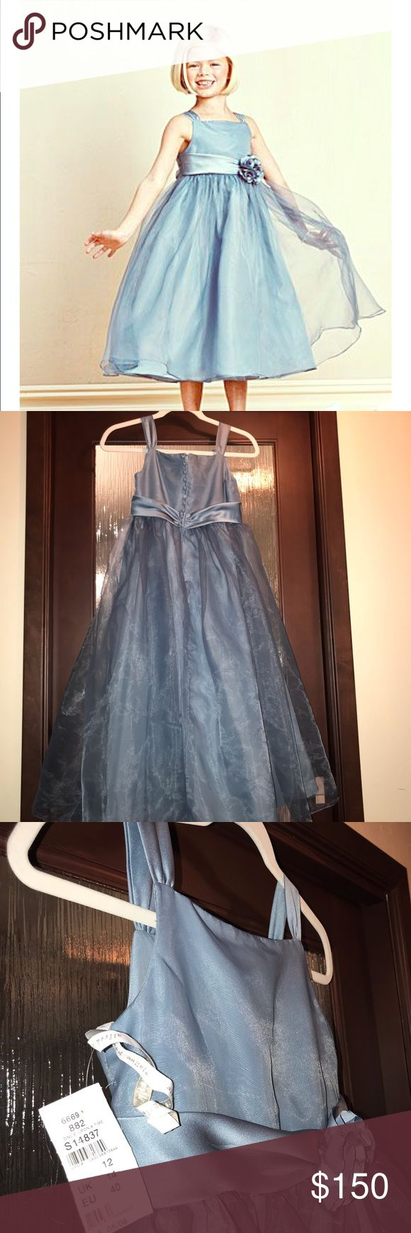 Alfred Angelo flower girl dress style 6669 size 12 Slate blue- 'once upon a ti…