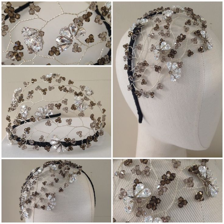 Hermione Harbutt bespoke Tallulah crystal headdress in grey tone Swarovski crystals. https://www.hermioneharbutt.com/wedding/hair_accessories/buy.php?Product=242&Title=Tallulah+Crystal+Headdress