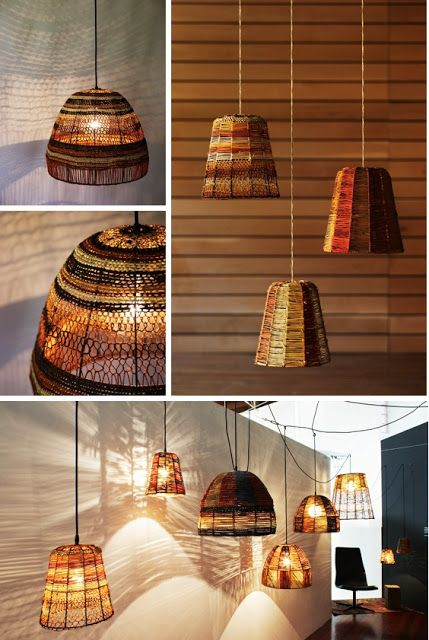 natural modern interiors: Lighting ideas :: Handmade lamps weaved from pandanas grass  | http://naturalmoderninteriors.blogspot.com.au/2011/04/lighting-ideas-handmade-lamps-weaved.html