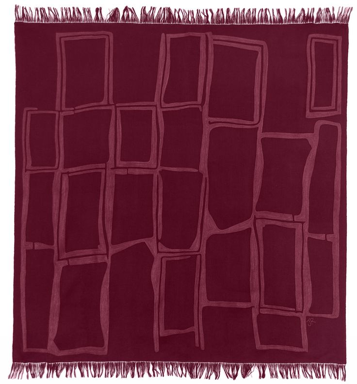 Judy Ross Textiles Hand-Embroidered Wool Procession Throw wine