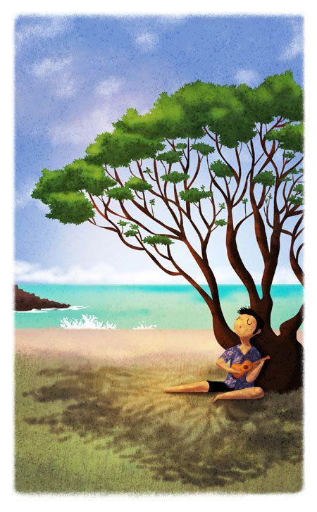 Art de l'ukulélé, île Boy, Print Art hawaïen, Hawaii, musicien, décoration de mur-« Ukulélé Song »