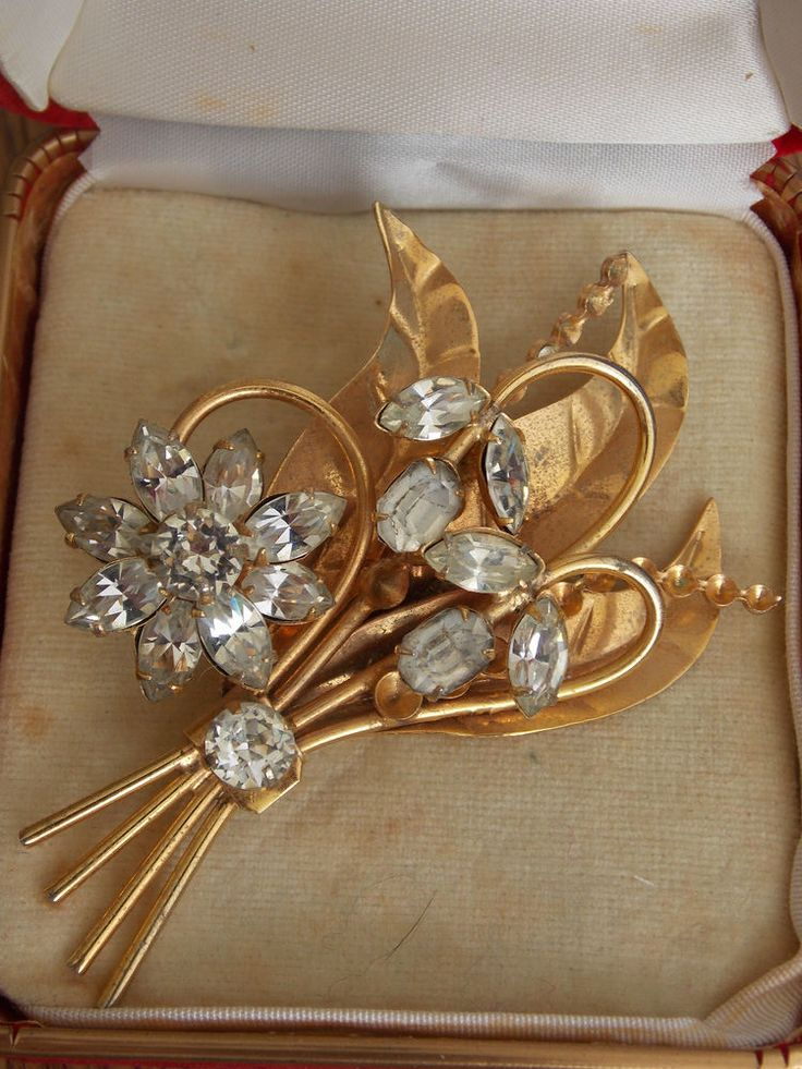 Vintage Antique Simpson 1940 s Crystal Sterling Vermeil Brooch by Donald Simpson