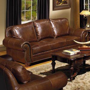 Brown Leather Sofa With Nailhead Trim