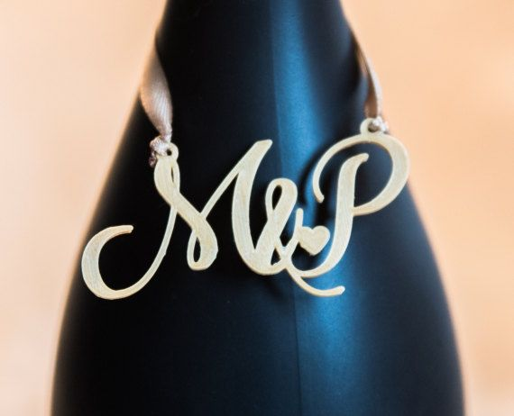 3D Printed Monogram Wedding Alcohol Tag
