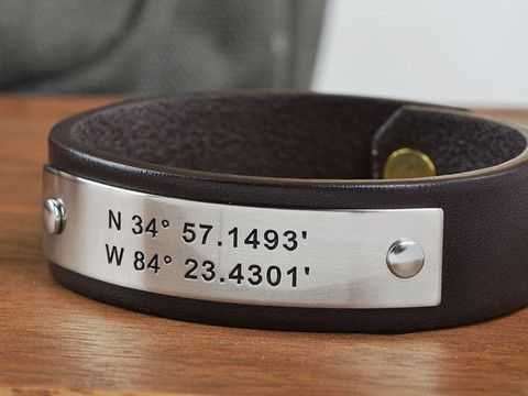 Perfect Anniversary Gift Idea for Him. Personalize this high quality Bridle Leather and 304 stainless steel Bracelet with ANY 40 characters of text or your choice. Or choose a set of GPS Coordinates to the location you were married or first met! Our hand crafted Leather bands are custom sized and available in three leather colors. Made in USA!