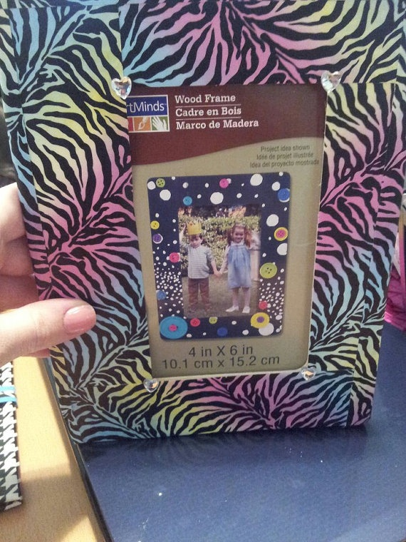 Rainbow Zebra Picture Frame by Duckology on Etsy, $5.00