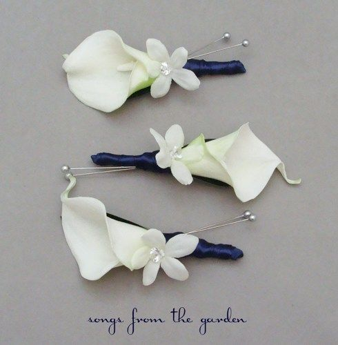 Silk Calla Lily Boutonniere | real_touch_calla_lily_stephanotis_boutonnieres_groom_groomsmen_wedding ...