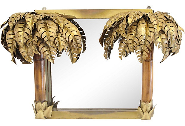 Maison Jansen Brass Palm Tree Mirror
