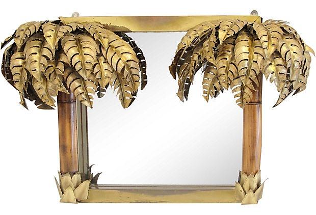 Maison Jansen Brass Palm Tree Mirror