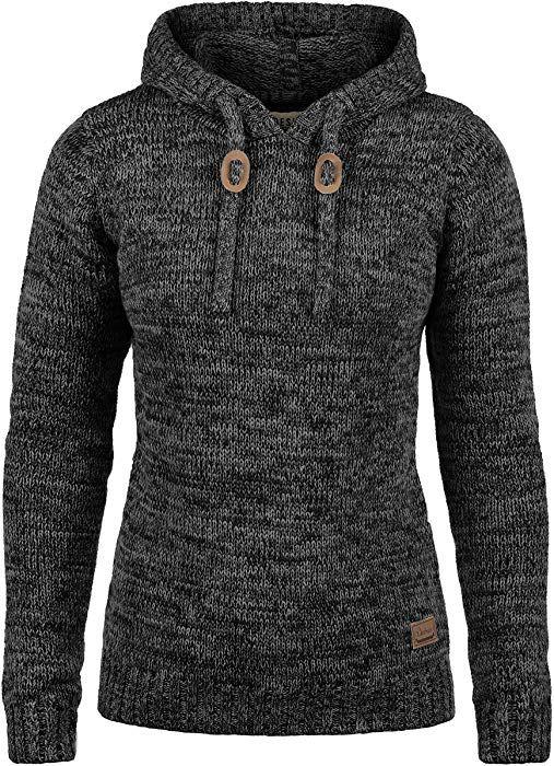 DESIRES Philla Damen Winter Strickpullover Troyer Grobstrick Pullover mit  Kapuze, Größe L, Farbe aa98845f01