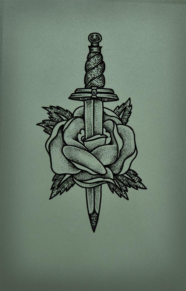 Flower Dagger Tattoo by Guilherme Hass, via Behance
