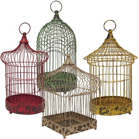 Set Of 4 Decorative Metal Birdcages. Product: Birdcage SetConstruction  Material: MetalColor: Red, Green, Yellow And CreamDimensions: Red: H X  DiameterGreen: ...