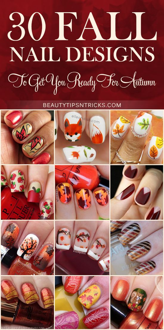 Feast your eyes on this huge collection of Fall Nail Art Ideas! 30 gorgeous nail designs inspired by Autumn and ready to inspire your creativity.