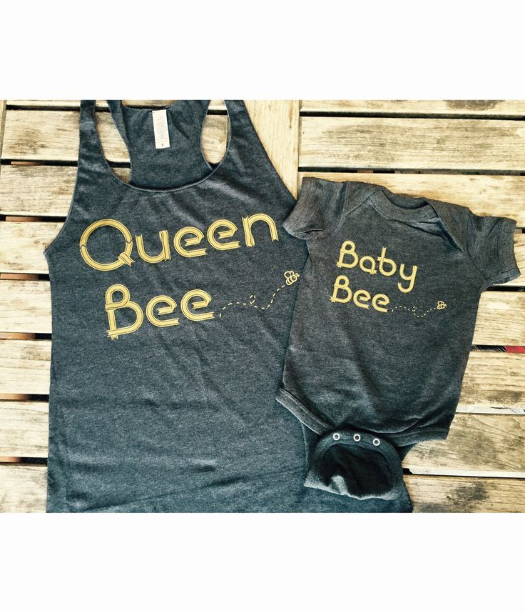 Queen bee tank top and baby bee onesie bundle made by Thinkelite.org