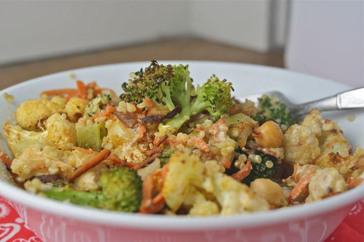 roasted broccoli and cauliflower tahini salad - Dishing Up the Dirt