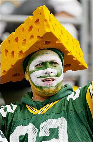 """Wisconsin Cheesehead: A """"Cheesehead"""" is a native of Wisconsin and also refers to the cheese hats worn by Wisconsin Packer Fans."""