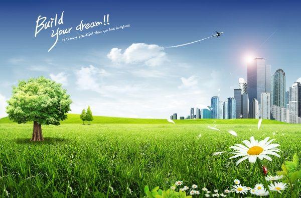 Green City PSD poster design