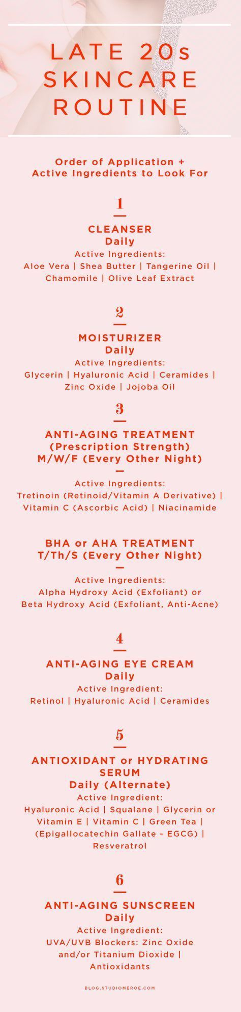 Late 20s skin care routine | Order of application + active ingredients to look for | skin care tips | anti-aging | @studiomeroe | Read more here: www.studiomeroe.com