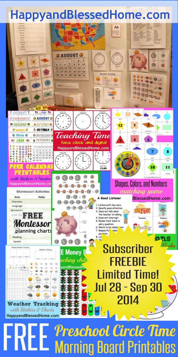 Kindergarten Calendar Games : Free preschool circle time morning board printables