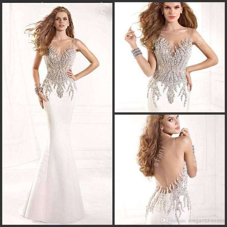 Designer 2014 New Sexy Transparent Back Beaded White Wedding Guest Dresses Party Prom Dresses Summer Tari071