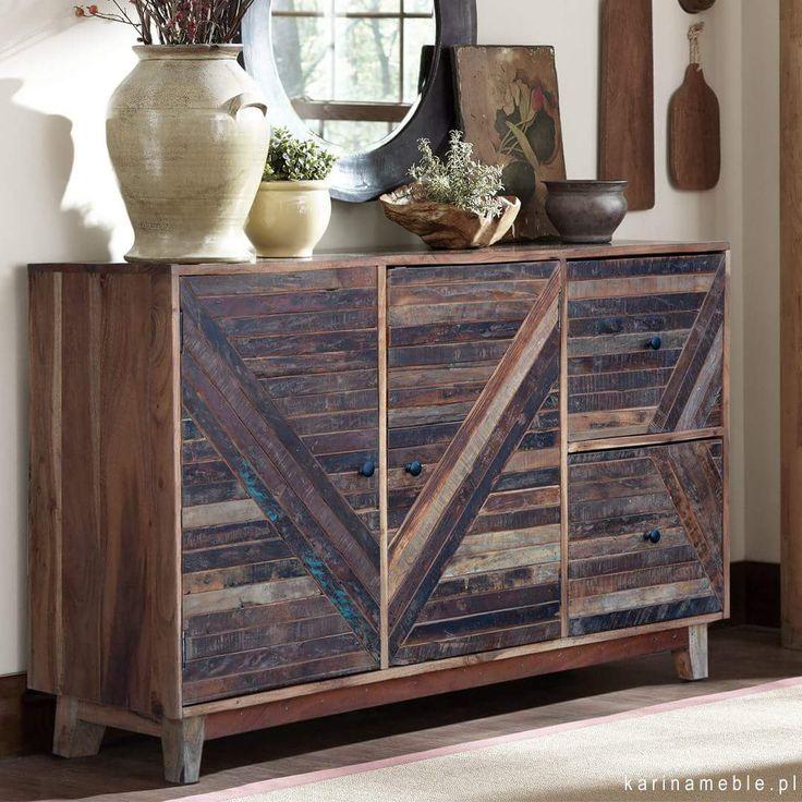 """Loftowa komoda zrobione z litego drewna akacja i mieszane gatunki tekowego. Idealne do wnętrz w industrialnym stylu. Komoda """"Barn"""" to atrakcyjne połącznie stylu loftowego i rustykalnego. Prosta bryła to ewidentnie wpływ stylistyki loftowej a dekoracyjne ułożeni drewna przywodzi na myśl rustyklane stylizacje."""
