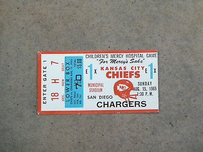 KANSAS CITY CHIEFS  SAN DIEGO CHARGERS AFL Ticket - AUGUST 1965