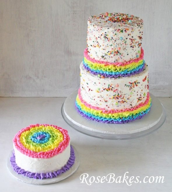 Rainbows, Ruffles & Sprinkles Birthday Cake and Smash Cake!    Click over for lots more pics and details!!