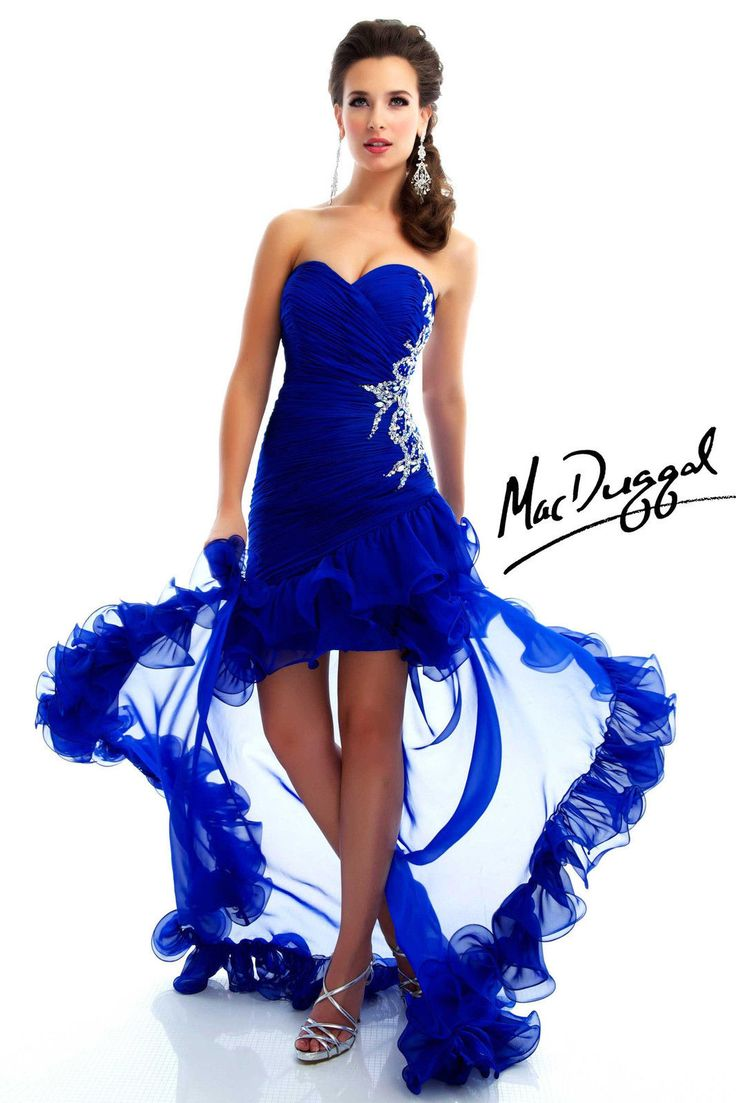 New MAC DUGGAL 64429L Electric Blue Hi-Low Prom Pageant Homecoming Evening Dress