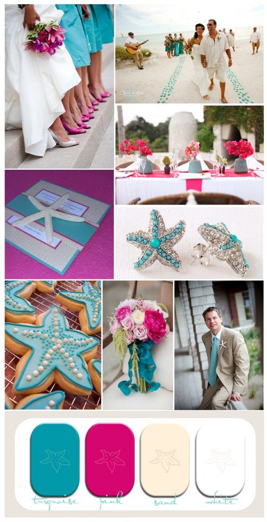 pink and turquoise beach wedding inspiration with starfish #beachwedding