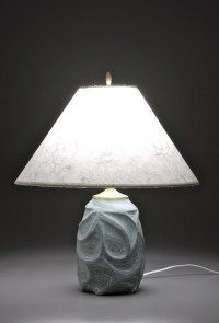Thrown and carved lamp