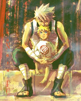 ANBU Kakashi and young Naruto. #fanart