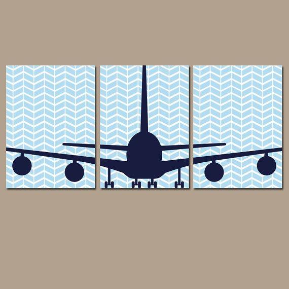 BEBÉ pared de la arte avión de muchacho vivero pared arte niño plano tema