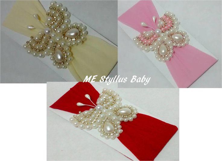 faixinha em meia de seda, super, confortável, cm borboleta em pérolas e strass, um luxo para as pequenas princesas.  tamanho da borboleta: 6,5cm