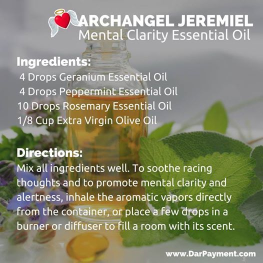 Archangel Jeremiel Mental Clarity Essential Oil. Use to soothe racing thoughts and to promote mental clarity and alertness.