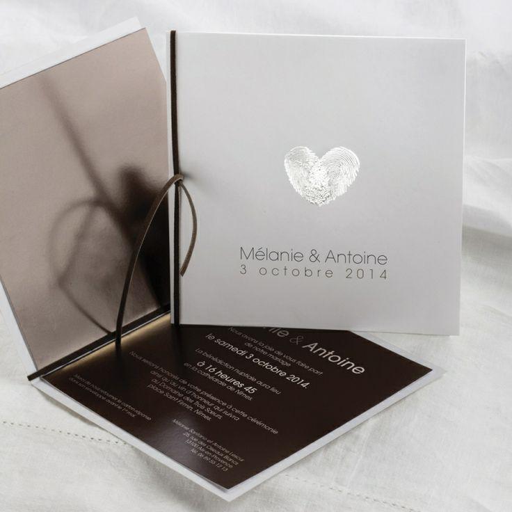 Faire part mariage « Empreintes duelles, cœur unique » chocolat, Editions Créatives EC-M089-M