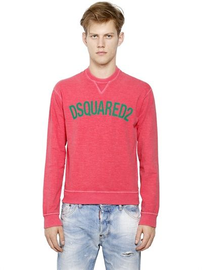 DSQUARED2 - LOGO PRINTED FADED STRETCH COTTON - LUISAVIAROMA - LUXURY SHOPPING WORLDWIDE SHIPPING - FLORENCE