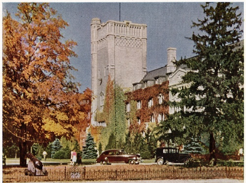 Johnston Hall, 1950s. Can you spot Old Jeremiah (sans paint)?